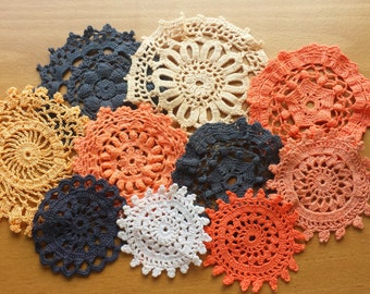 10 Black and Orange Doilies, Hand Dyed Doilies, 2.5 to 4 inch Doilies for Crafts and Dream Catchers, Vintage Doilies