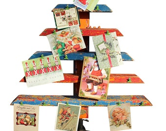 Card Holder Tree Rack Christmas Holiday Greetings Carnival Distressed Wood Reclaimed Stand Found Objects