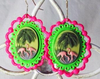 Trailer Park Pink Flamingo Earrings