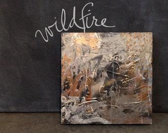 wildfire - mixed media original (12x12) on wood