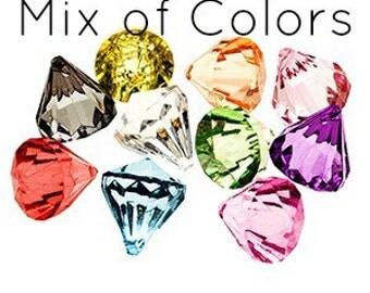 10 Bling DIAMOND Pendants SMALL MIX Chunky Bead Acrylic Drop Centers H688