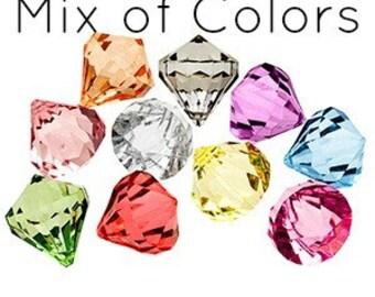 10 Bling DIAMOND Pendants LARGE MIX Chunky Bead Acrylic Drop Centers H687