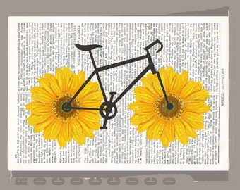 Happy Sunflower bycicle 2- ORIGINAL personalized ARTWORK print over an Repurposed  Vintage Dictionary page 8 x 10 -Upcycled Book Print