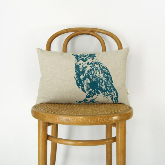 Personalized Owl Pillow Case | Decorative throw pillow cover | Your Ink Color - Fabric - 12x18 / 16x16 | Nature Lover Photography Home Decor