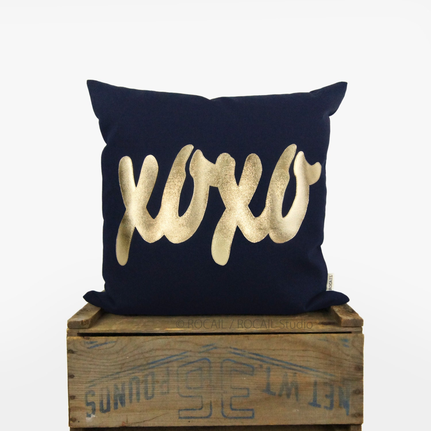 Throw Pillow With The Word Home On It : Navy Blue and Gold XOXO Word Decorative Pillow Case 12x18