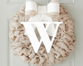 Winter Wreath, Initial Wreath, Personalized, Front Door Initial, Monogram Wreaths for the Door, Interchangeable Bow