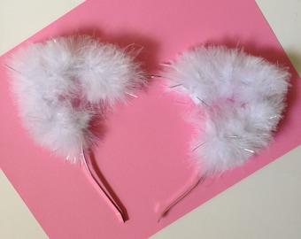 White Fuzzy Cat Ears with Silver Tinsel