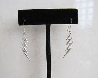 lightning bolt Sterling Silver Dangle Earrings, Zig Zag dangle earrings