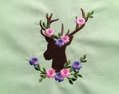 Deer Silhouette with leaves and flowers Machine embroidery designs 4x4 and 5x7  INSTANT DOWNLOAD