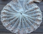 2 Yards Lace Trim Flowers Floral Embroidered Light Yellow Tulle Lace 8.26 Inches Wide High Quality