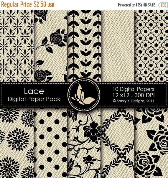 50% Off Lace Paper Pack - 10 Printable Scrapbooking Digital papers - 12 x12 - 300 DPI