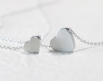Silver Heart double layering Necklace - S2045-3 - Layered necklace