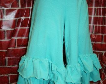 Ruffle Pants - Two Ruffle - elastic Waist - Solid Color Full Length (Custom Made - XXS - 4XL)