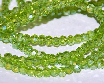 50 pcs 3mm Transparent Lime Chartreuse Peridot Round Faceted Glass Beads