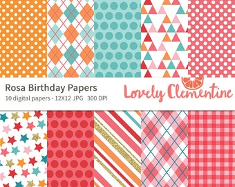 Rosa birthday papers 12x12,  birthday digital papers, royalty free- Instant Download