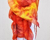 Felted scarf, silk, wool, nuno, felted, gift, fibre art, orange, yellow