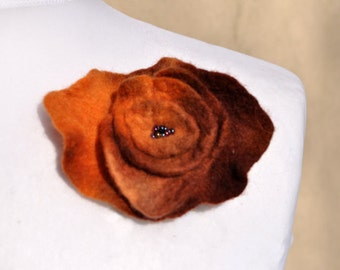 Felt flower, brooch, flower, purple, orange, brown,  beads
