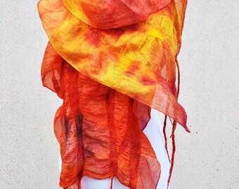 Felted scarf, silk, wool, nuno, felted, gift, fibre art, orange, yellow