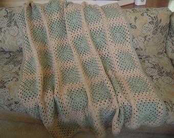 "Crocheted Handmade Full Adult Size Afghan/Blanket/Throw, Frosty Green/Buff, 51""W x 60""L"