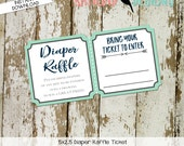 Diaper raffle ticket INSTANT DOWNLOAD item 1238 12120 12121 insert enclosure card shower diapers tribal arrows rustic chic navy mint gray