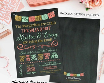 fiesta invitation couples shower bridal shower Papel Picado chalkboard rehearsal dinner engagement invitation coral mint gold (item 354)