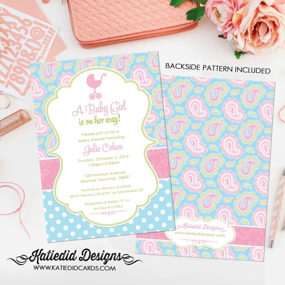 baby girl shower invitation paisley pink blue polka dot baby sprinkle couples diaper baptism birthday (item 1302) shabby chic invitations