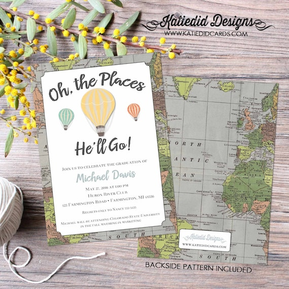 Graduation invitation announcement oh the places you will go travel theme baby shower hot air balloon map world (item 1243) around the world