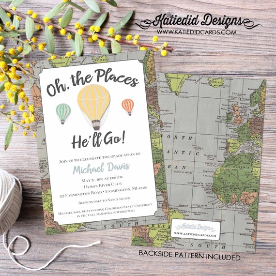 oh the places you'll go graduation announcement | world map graduation | graduation announcements high school | invite | 1243 Katiedid Cards