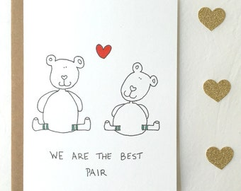 Best Pair Lover Bear Valentine's Card