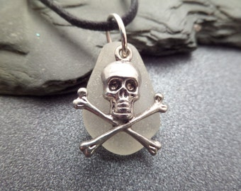 Skull and Crossbones Necklace for Men with White Scottish Sea Glass, Gift for Him, Men's Necklace with Black Cord, Pirate Jewelry