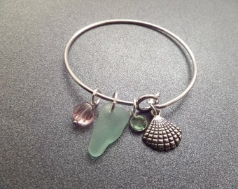 Sea Shell Bangle Bracelet with Charms and Aqua Sea Glass from Scotland, Green and Purple