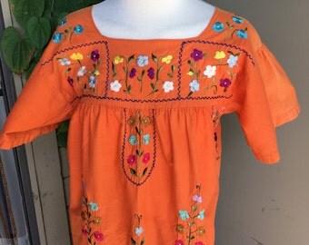 Vintage Mexican Dress Orange Embroidered Florals Hippie Boho