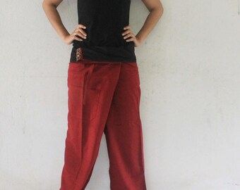 patchwork fold-over with maroon full length  Thai fisherman pants hand weave cotton size S-XL,unisex pants,yoga,spa pants.