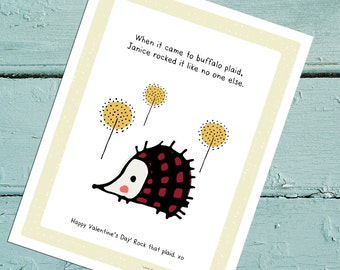 Janice Rocks Buffalo Plaid. Digital Download Valentine. Headgehog from the Sassy Woodland family. Friend. Friendship. Fashion. Funny.