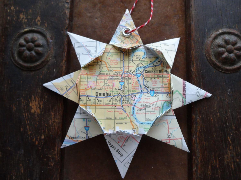 Origami Map Ornament Omaha Nebraska Home Decor Wall Art