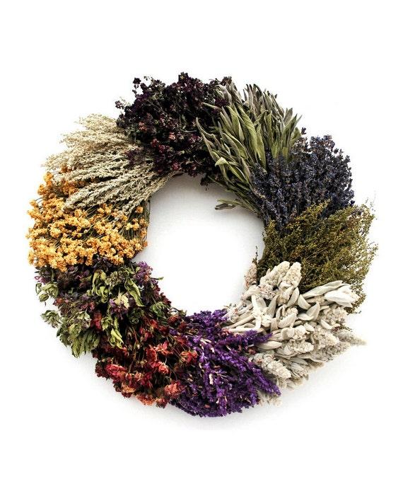 Wild 10- Herb Wreath-Handmade Wreath-Front Door Wreath-Fragrant Wreath-Preserve Door Wreath