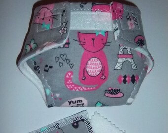 "Baby Doll Diaper/wipes - ""fashion"" kitty cats on grey - adjustable for many dolls such as bitty baby"