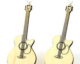Cut Away Acoustic Guitars - Wood Laser Cut Earrings