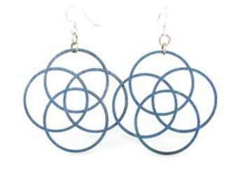 Circles of Life - Laser Cut Wood Earrings
