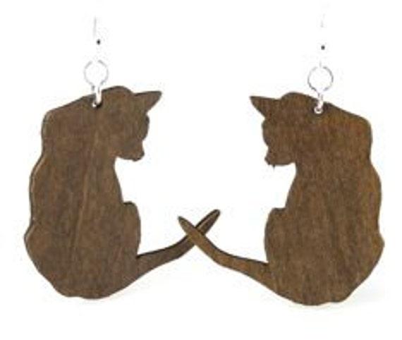 Sultry Cat -  Laser Cut Wood Earrings