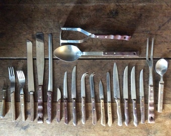 Vintage English Assorted Wood Handled Assorted Knifes Kitchen Cooking Tools Cutlery Silverware Flatware circa 1920-60's / English Shop