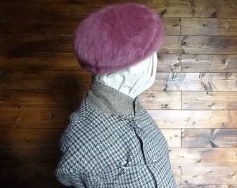 Vintage English pink angora hat woman ladies unisex circa 1980-90's / English Shop
