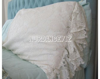 Shabby Chic Body Pillow Cover : 26 inch Ivory / Oatmeal beige ruffle euro sham pillow shabby