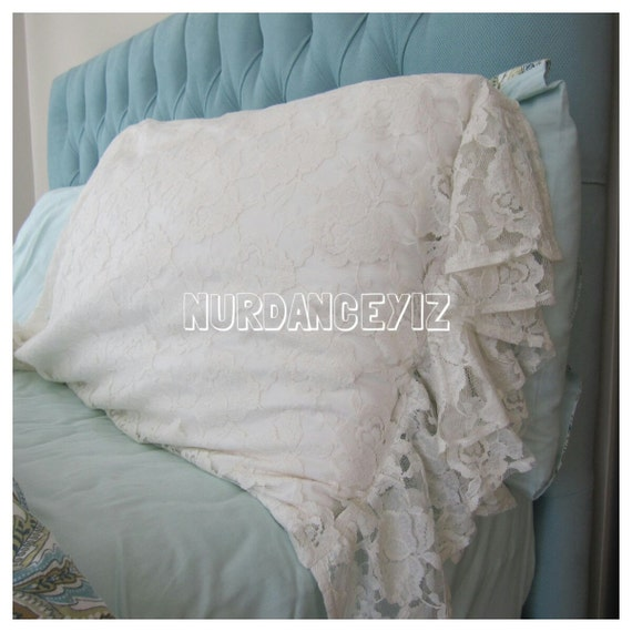 Sheer tulle lace double layer Ruffle Euro SHAM pillow