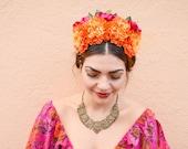 Marigold and Rose Flower Crown, Frida Kahlo, Pink, Orange, Floral Crown, Mexican Headpiece, Frida, Marigold Flower Crown, Bohemian, Boho