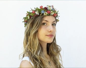 Wildflower Crown. Autumn Wildflower Headpiece, Bridal Flower Crown, Bridal Headpiece, Coachella 2016, Festival Style, Woodland Wedding