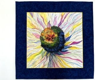 Floral Fiber Art Quilt - Daisy Center Wall Hanging - Navy and Yellow Decor - Wall Art - Mixed Medium, Fiber Art by Sally Manke - Handmade