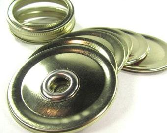 Gold Two Piece Jar To Go Cup Lid- Silver Tone Grommet-  Regular Mouth Jar- Mason Jar To Go Cup Lid