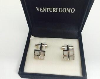 Vintage silver tone Cufflinks, mint condition, original box, Father's Day sale, item No M003