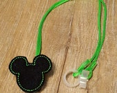 Boy Mouse w/ Green Stitch- Hearing Aid Cord or Cochlear Implant Cord